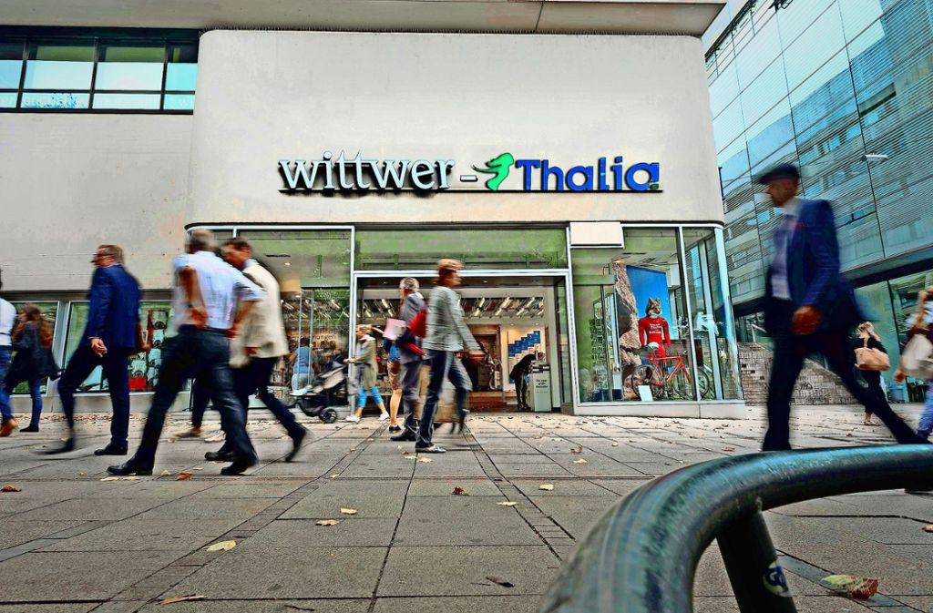So könnte es bald am Schlossplatz aussehen: Die Buchhandlung Wittwer Thalia Foto: Lichtgut/Max Kovalenko