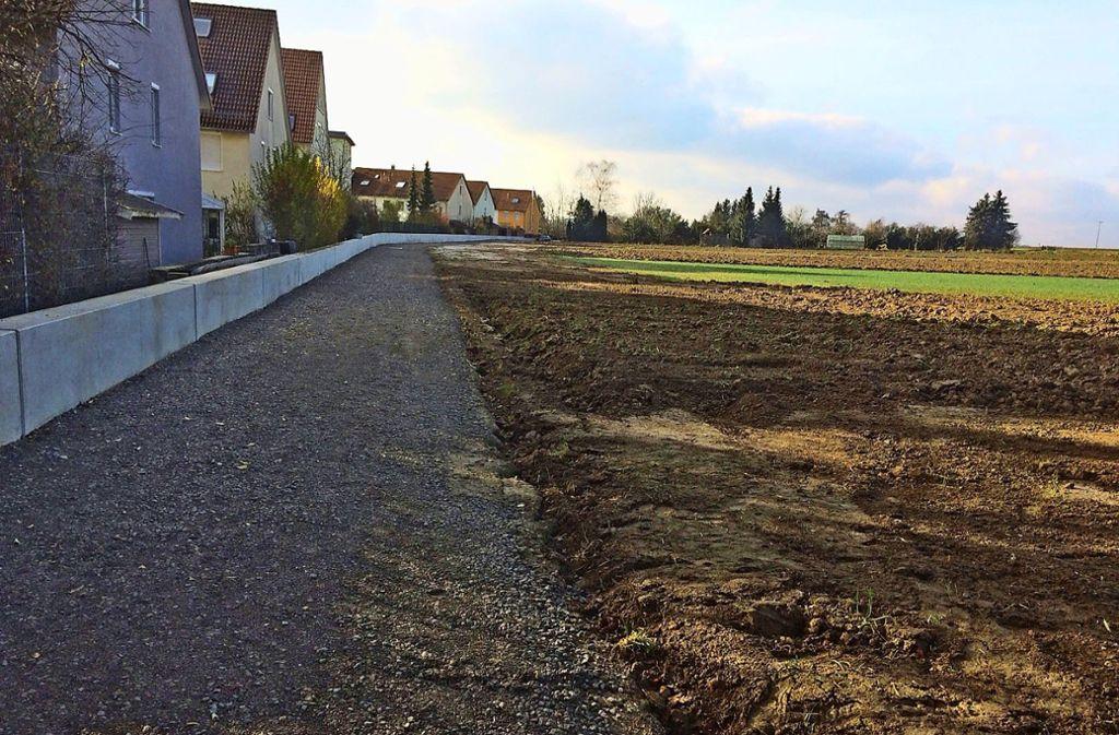 Die Mauer soll die Häuser vor Starkregen und Hochwasser schützen. Foto: privat//Walter Bauer