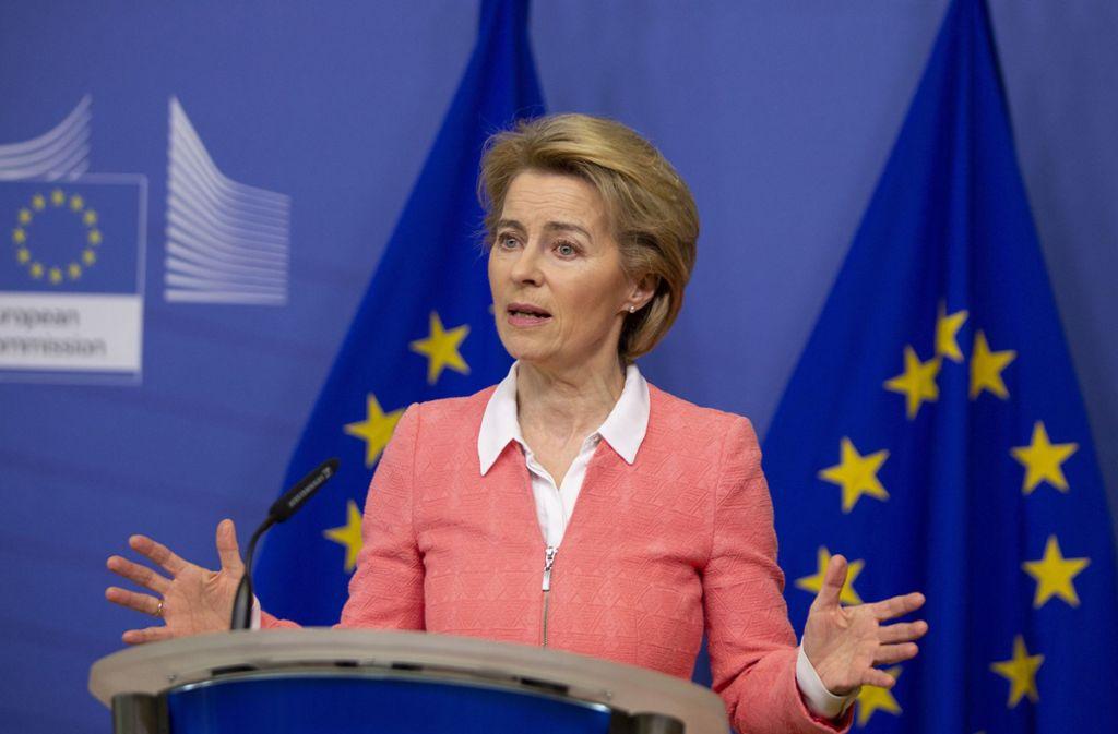 Ursula von der Leyen hat wegen der Ausbreitung des Coronavirus einen vorläufigen Einreisestopp in die EU vorgeschlagen. Foto: dpa/Virginia Mayo