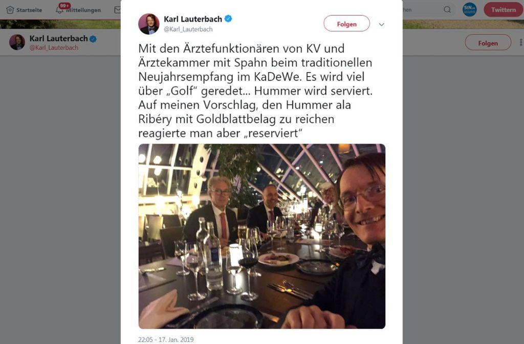 Mit diesem Tweet hat Karl Lauterbach eine Diskussion ausgelöst. Foto: Twitter/@Karl_Lauterbach