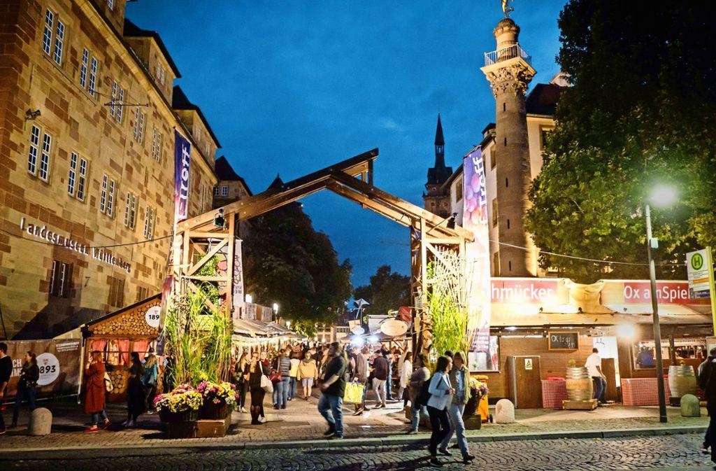 Auf dem Weindorf gibt es in diesem Jahr zwei neue Lauben. Foto: Lichtgut/Achim Zweygarth