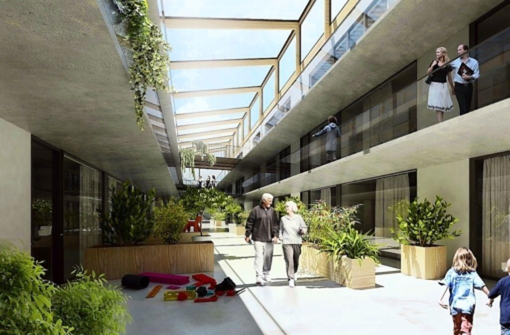 """So soll das Atrium des zweiten Herrenberger Projekts """"Stadtwerk"""" aussehen. Foto: z"""