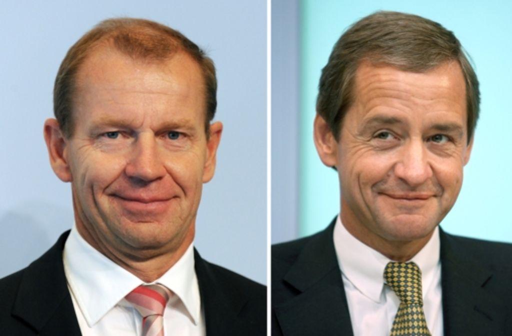 Die amtierenden LBBW-Vorstände Strüder (l.) und Horn sollen vor Gericht. Foto: dpa