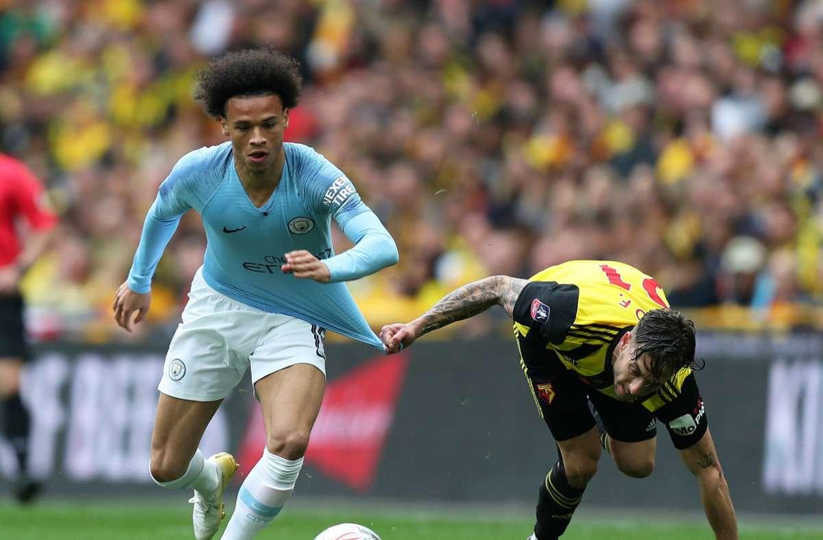 Leroy Sane im Einsatz für Manchester City. Foto: WITTERS/MarkLeech
