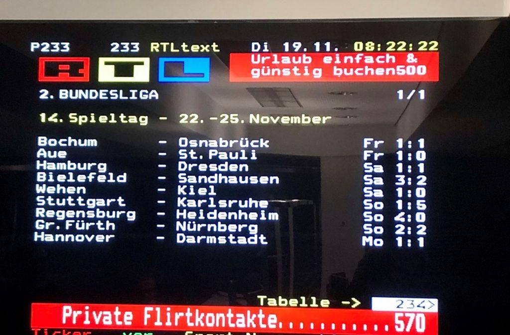 """VfB Stuttgart gegen Karlsruher SC 1:5 – so sieht es zumindest das """"Orakel"""" RTL-Videotext. Foto: privat"""