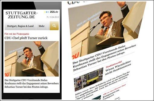 Stuttgarter Zeitung auf dem Handy