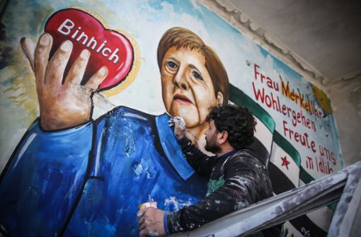 Syrer bedanken sich bei Angela Merkel mit riesigem Graffiti