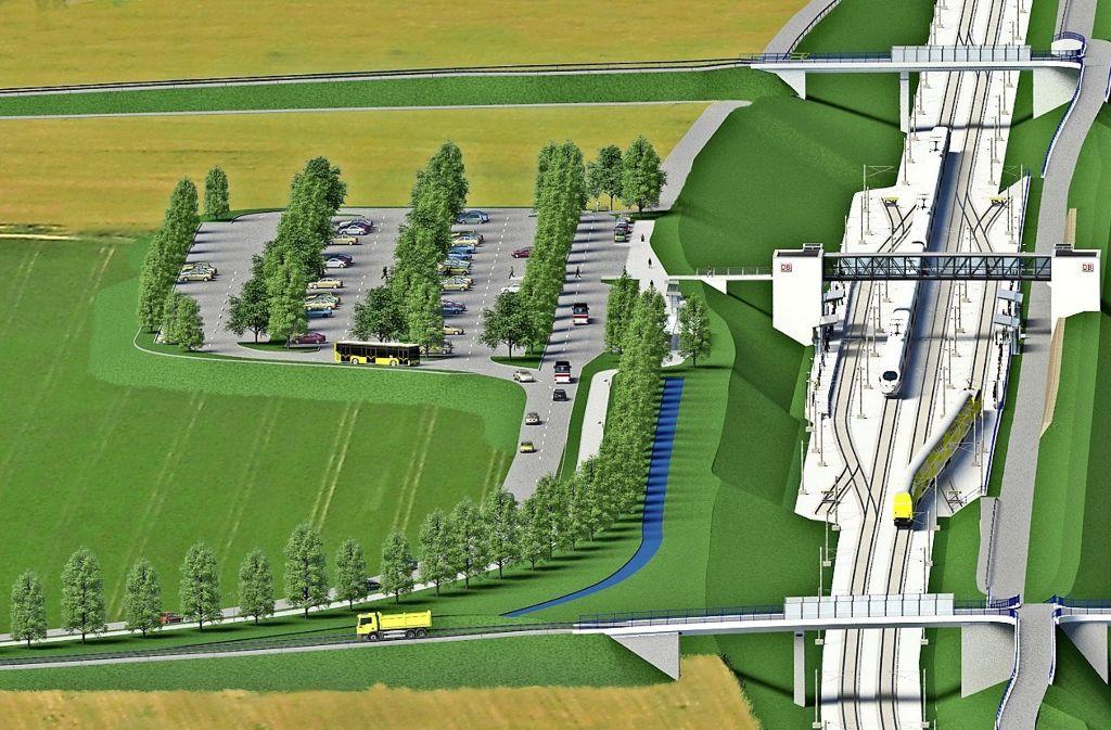Direkt neben der Autobahn 8  verläuft die neue Schellbahntrasse bei Merklingen.  Das Vorbild für den geplanten Bahnhalt  steht im bayerischen Kinding Foto: Ing.-Büro Vössing GmbH