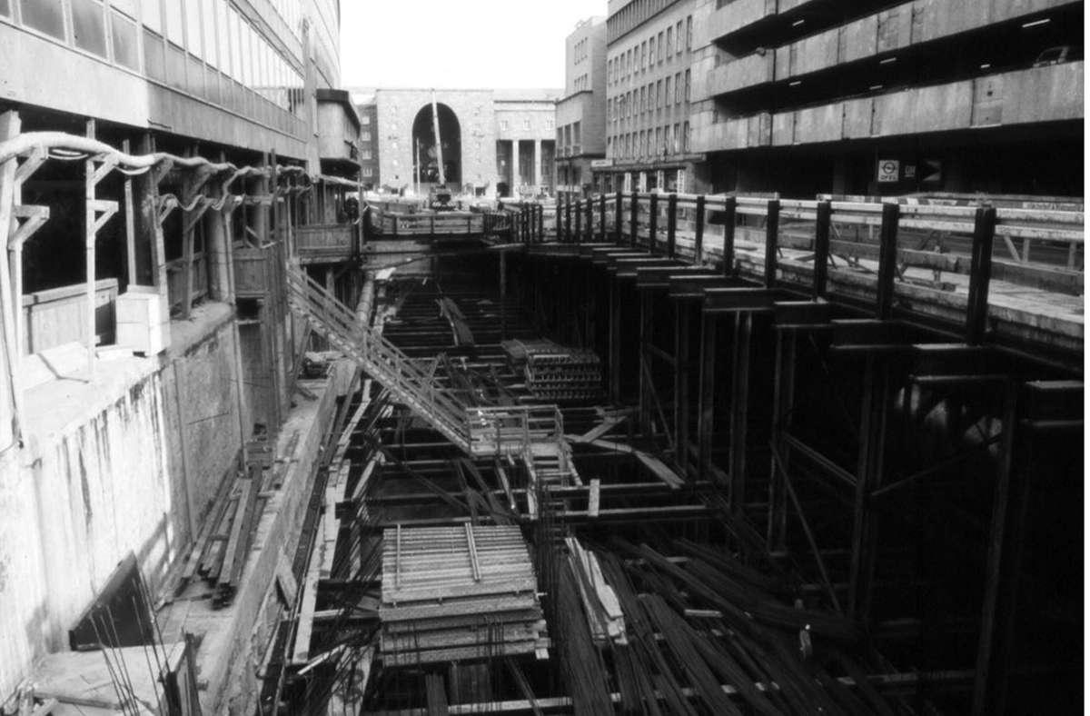 Bauarbeiten für die S-Bahn an der Lautenschlagerstraße. Foto: Bahnarchiv