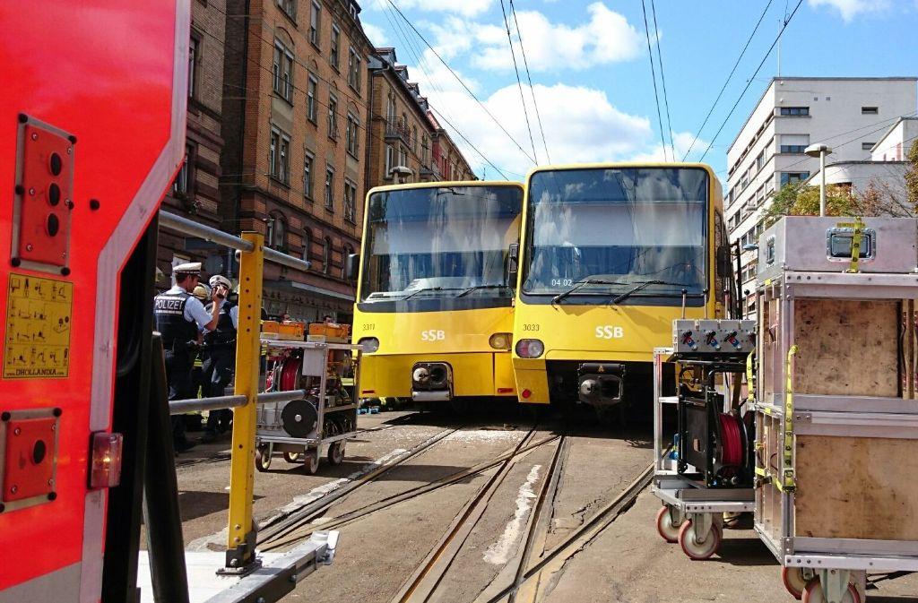 Ein Unfall am Stöckach in Stuttgart-Ost bringt am Dienstag den Stadtbahnverkehr ins Stocken. Foto: Fotoagentur Stuttgart Andreas Rosar