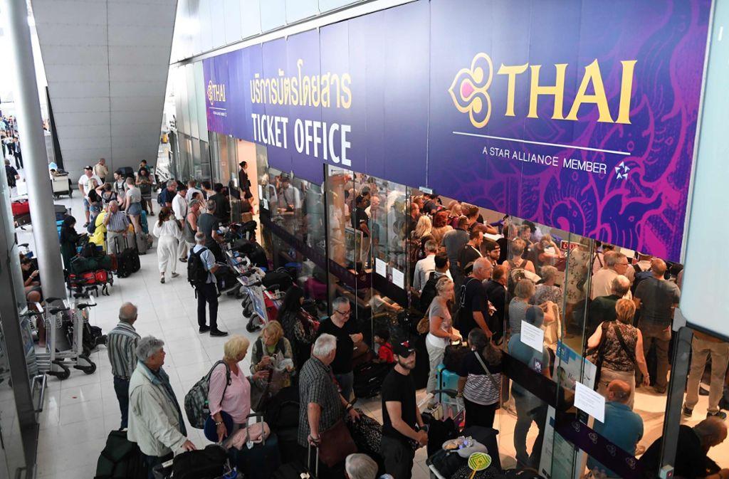 In Bangkok wurden zahlreiche Flüge nach Europa annulliert. Foto: AFP