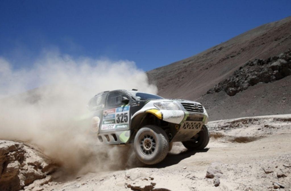 Das Duo Al-Rajhi/Gottschalk hat auf der fünften Etappe der Rallye Dakar den Tagessieg nur knapp verpasst. Foto: EFE