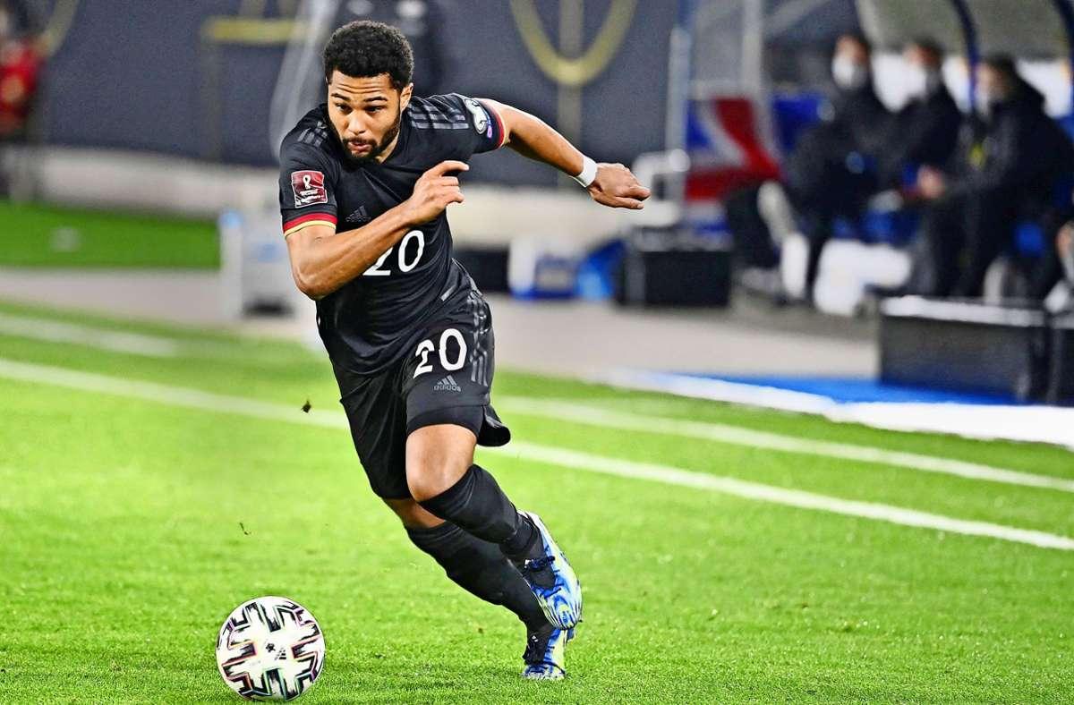 Stürmisch unterwegs: Serge Gnabry hat in 19 Länderspielen bereits 15 Treffer erzielt. Serge Gnabry erzielte 15 Tore in   19 Länderspielen. Foto: AFP/Ina Fassbender