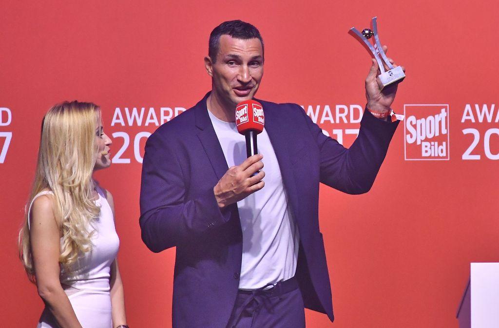 """Der frühere Boxweltmeister Wladimir Klitschko wurde am Montagabend in Hamburg mit dem """"Sport Bild""""-Award ausgezeichnet. Foto: Getty Images Europe"""