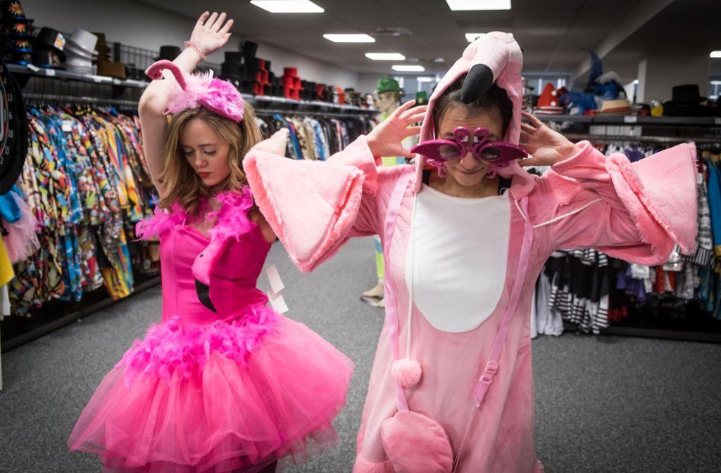 Auch Verkleidungen gehen mit der Mode: Dieses Jahr sind Flamingos ein besonders beliebtes Motto. Foto: Lichtgut/Achim Zweygarth