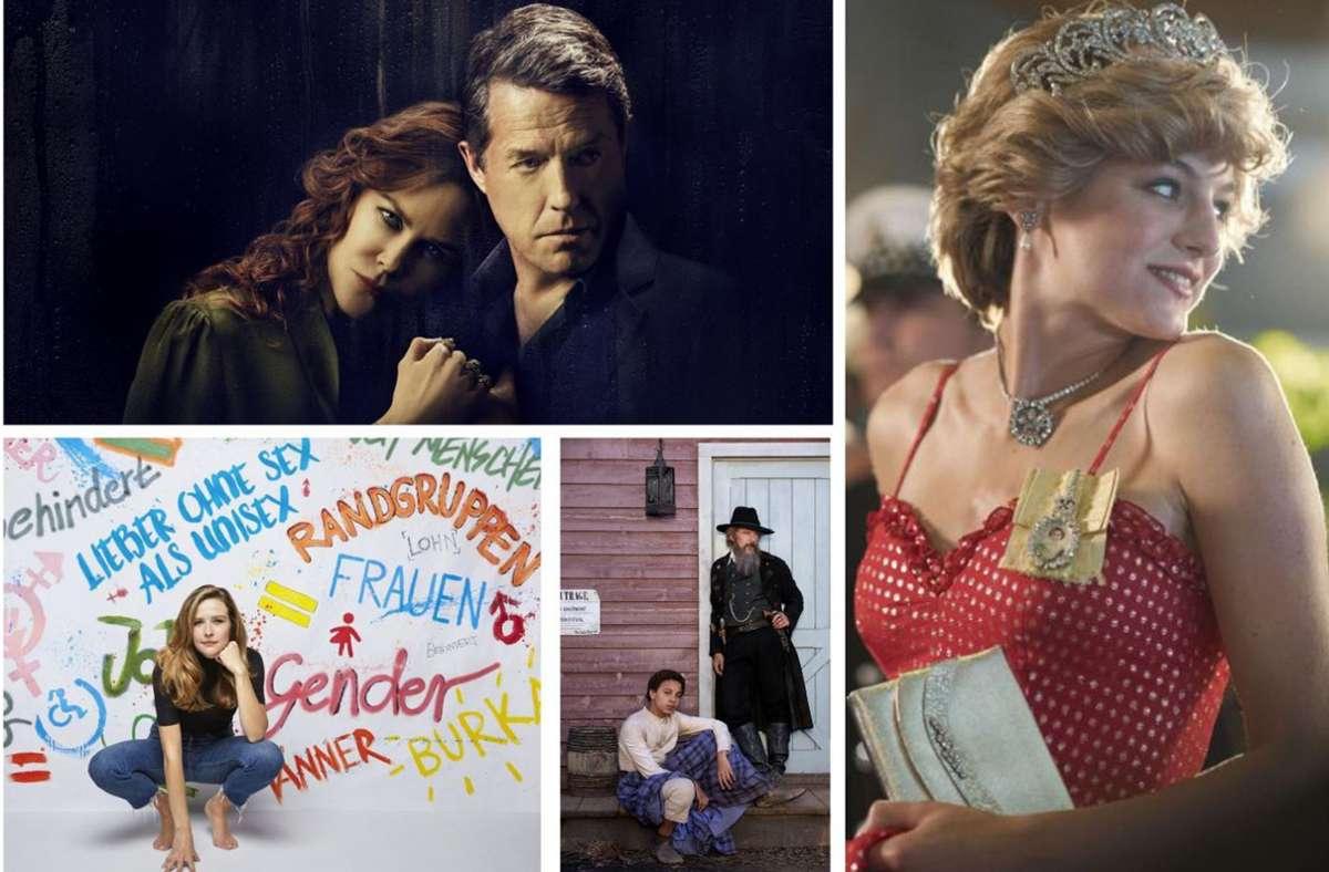 """Neuer Serienstoff: """"The Undoing"""", """"The Crown 4"""", """"Good Lord Bird"""" und """"Frau Jordan stellt gleich"""" (von links oben im Uhrzeigersinn) Unsere Bildergalerie verrät, welche zehn Serien Sie im November im Blick haben sollten.      Foto: HBO, Netflix, Showtime, Joyn Foto:"""