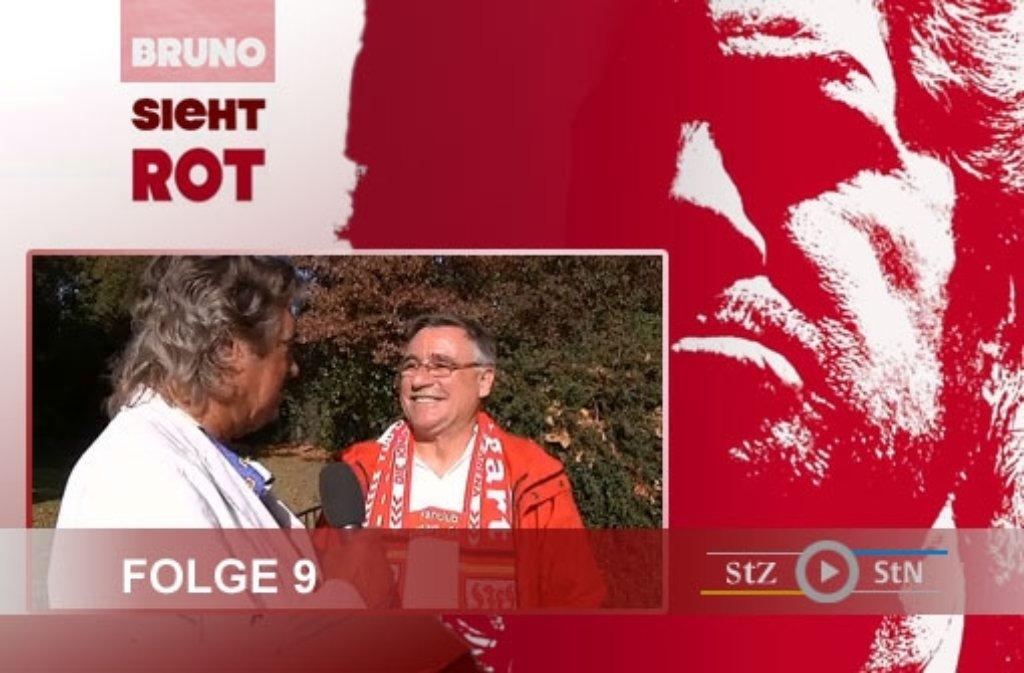 Folge 9 der VfB-Videoserie Bruno sieht rot wurde bei strahlendem Sonnenschein in der Wilhelma gedreht. Der schöne Bruno konnte Gerhard Geupert, Vorsitzender des VfB-Fanclubs Stuttgart Giebel, begrüßen. Foto: SIR