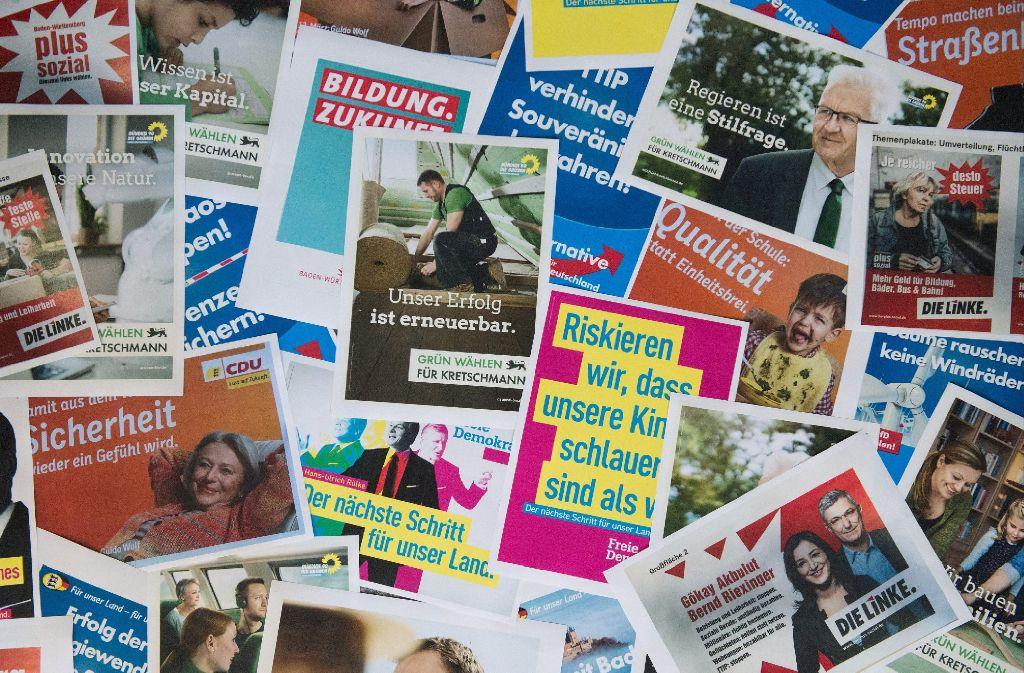 Die Plakatschlacht hat begonnen - die Parteien buhlen mit ihren Botschaften um die Gunst der Wähler. Foto: dpa