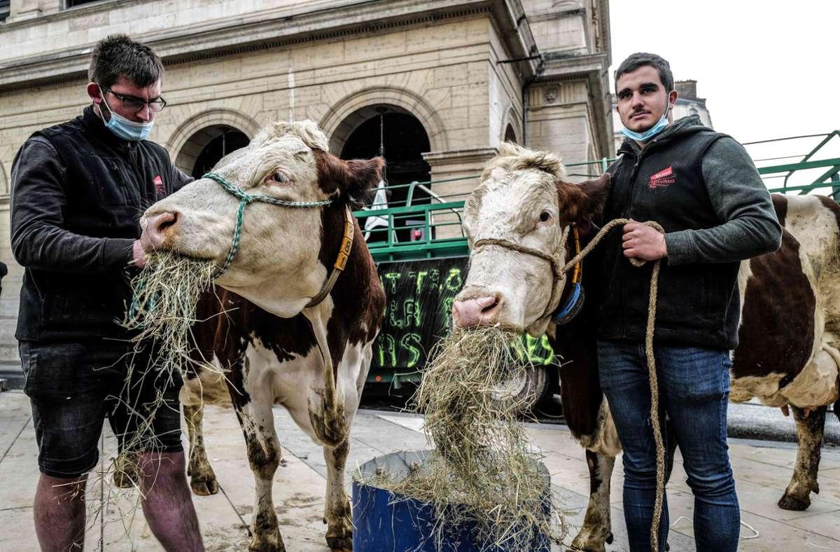 Französische Bauern protestieren in Lyon vor dem Rathaus gegen die Entscheidung, in Schulmensen nur noch ein vegetarisches Gericht anzubieten. Foto: AFP/OLIVIER CHASSIGNOLE