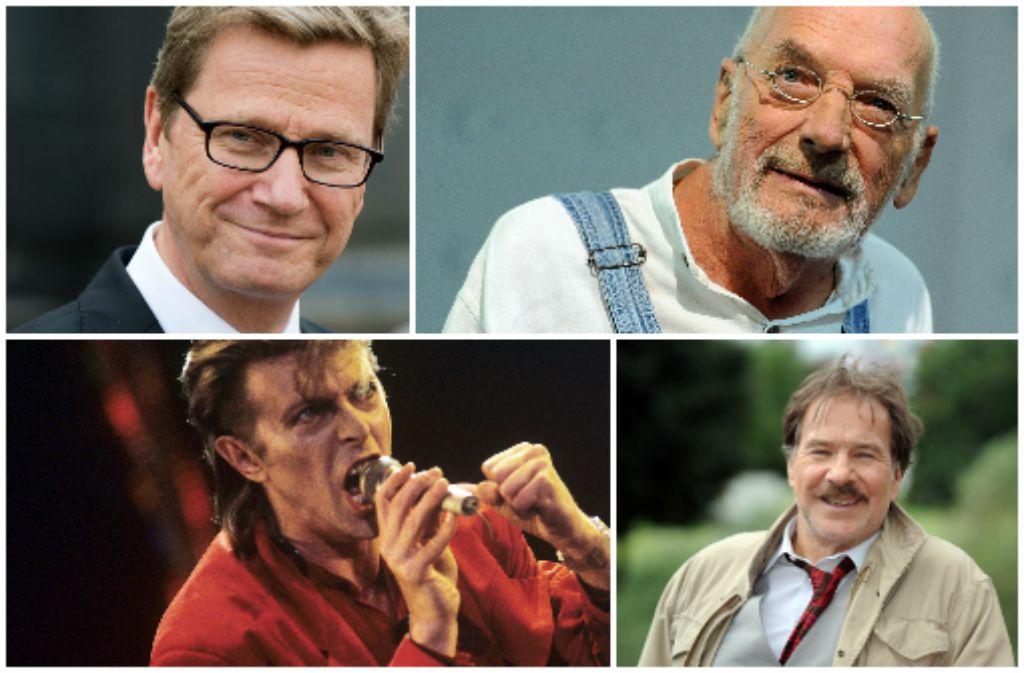 Guido Westerwelle, Peter Lustig, David Bowie und Götz George (von links im Uhrzeigersinn) sind nur einige bekannte Persönlichkeiten, die im vergangenen Jahr verstorben sind. In unserer Bilderstrecke erinnern wir an die Toten des Jahres 2016.  Foto: dpa/AFP/AP