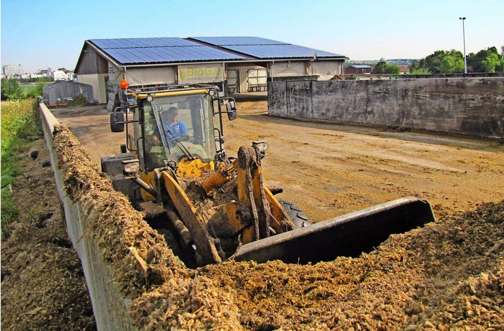 Aus 65 Schaufelladungen  werden an diesem Tag 120 Tonnen Biomasse für den Fermenter gemischt. Foto: Felizitas Eglof