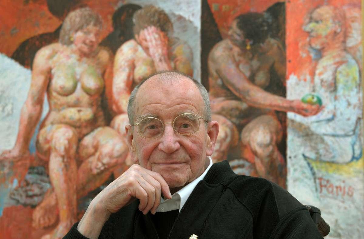 Willi Sitte vor einem seiner Werke Foto: dpa/Waltraud Grubitzsch