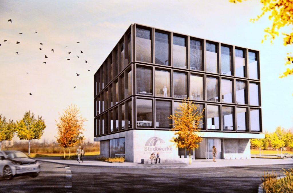 Die Stadtwerke L.-E. (im Bild der Siegerentwurf für den in Leinfelden geplanten Büroneubau) sind mit Jahresabschlüssen in Rückstand und haben hohe Verbindlichkeiten angehäuft. Foto: Norbert J. Leven