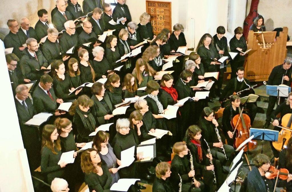 Fast 100 Chorsänger musizieren am Sonntag in der Stadtkirche in Stuttgart-Vaihingen. Foto: z