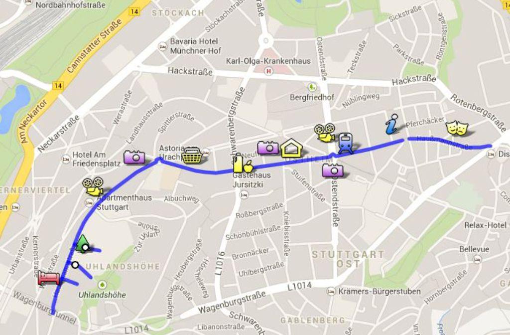 Die Karte gibt einen Überblick über die Haußmannstraße. Foto: Screenshot StZ