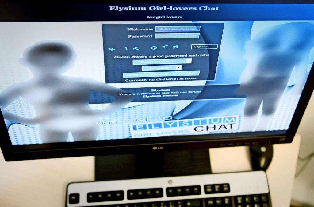 In diesem Fall hatte die Polizei einen Fahndungserfolg: die Log-in-Seite der Kinderpornografie-Plattform Elysium 2017 Foto: dpa